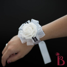white and black wrist corsage for wedding or prom artificial fake flower