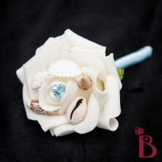 shell wedding boutonniere prom boutonniere with shells light blue pin