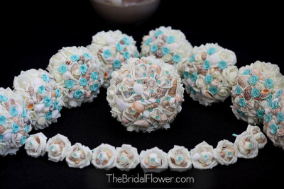 tiffany blue seashell wedding bouquet set with aqua rosettes