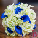 royal blue and light green real touch bouquet roses and calla lilies crystals and pearls