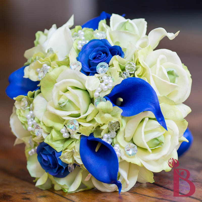Bridal Real Flower Bouquets : Green royal blue real touch wedding bouquet lg the