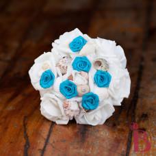 rosette turquoise seashell bouquet mini