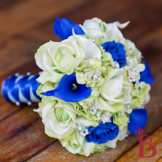 light blue and royal blue real touch natural touch wedding bouquet