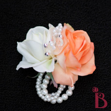 orange white real touch rose corsage wedding wrist corsage pearl bracelet