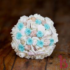 aqua wedding bouquet, silk wedding bouquet tiffany blue seashell wedding