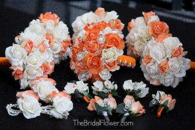 orange white real touch bouquets with pearls and brooches and crystals