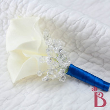 real touch calla lily boutonniere button hole lapel flower wedding cream royla blue
