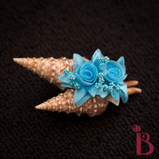 turris shell boutonniere with turquoise accent beach wedding groom button hole