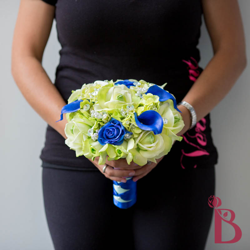 blue and green real touch wedding bouquet roses calla lilies crystals pearls