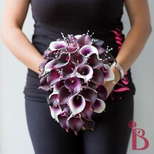 purple picasso plum calla lily wedding bouquet