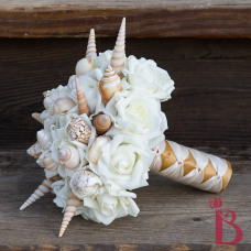 king triton little mermaid wedding bouquet with spiky shells turella shells and cream gold combination