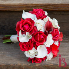 red and cream white real touch wedding bouquet roses calla lilies dark red ivory