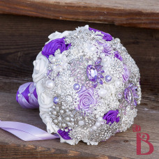 crystal brooch bouquet lavender light purple and royal purple alternative bouquet