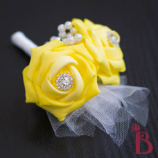 yellow corsage boutonniere canary yellow pearls bling tulle wedding
