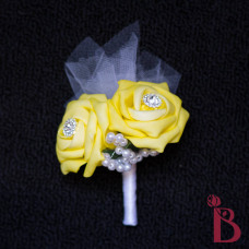 silk wedding boutonniere corsage bling yellow tulle