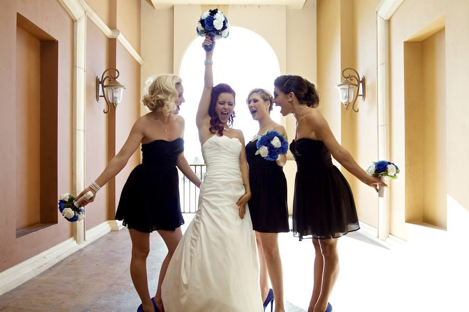 royal blue and black wedding bouquet set with silver accents