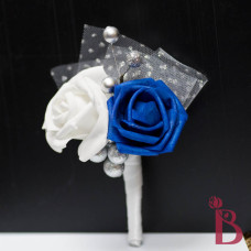 silk boutonniere prom wedding royal blue silver white glitter tulle winter button hole