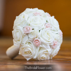 rustic bridesmaid bouquet chic and pastel pink with ivory artificial roses