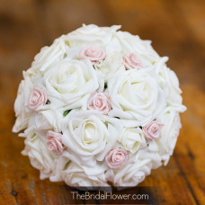 blush pink and ivory rustic wedding bouquet romantic roses tulle