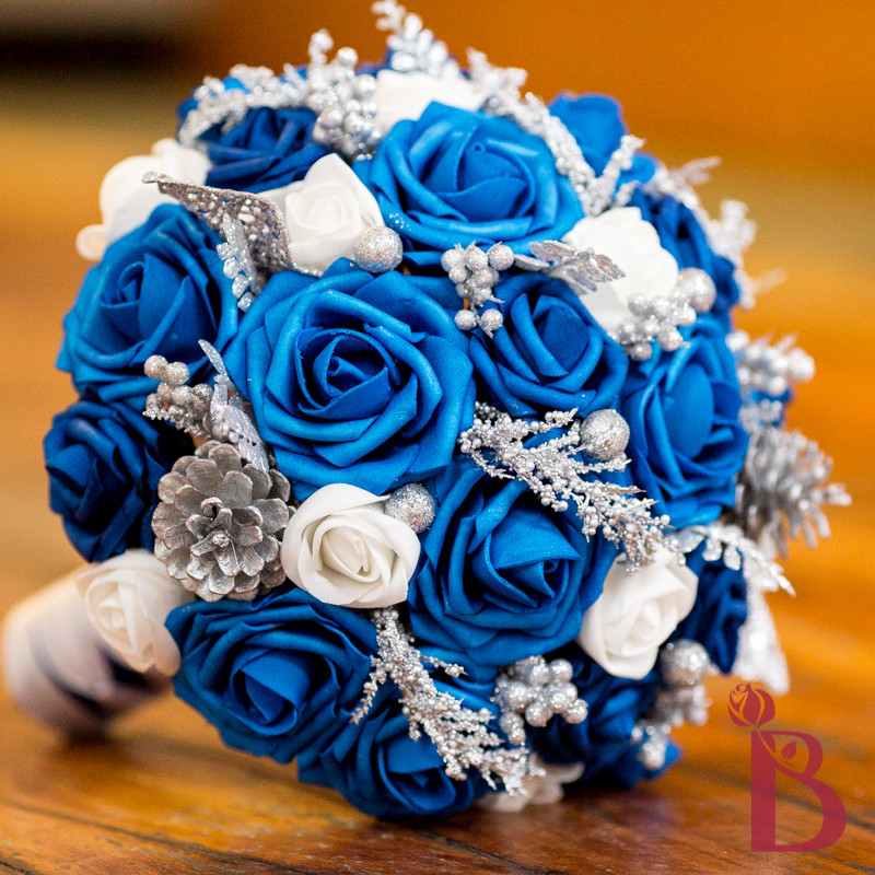 Royal Blue Silk Wedding Bouquets. Brides Bouquet Lime Green Orchid ...