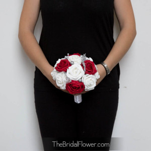 red and white silver winter holiday bouquet valentines day bridesmaid maid of honor bouquet with glitter artificial silk flowers