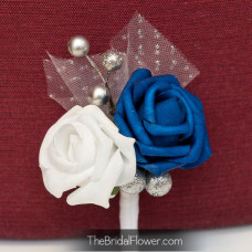 royal blue silver and white rose boutonniere with tulle