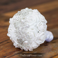 silk brooch bouquet with roses and flowers strip over