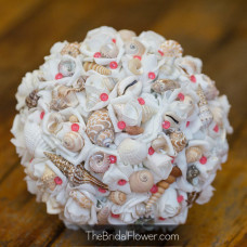 faux wedding bouquet coral pins shells and artificial roses