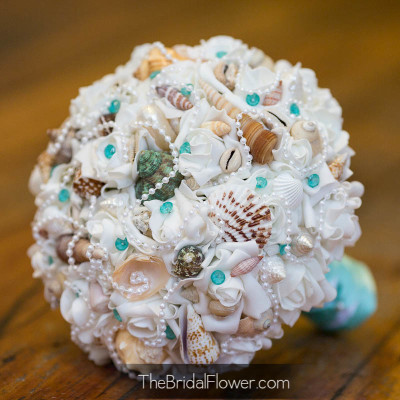 aqua seashell bouquet sea shells artificial roses and pearls