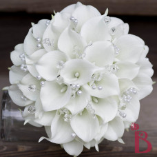 calla lily bouquet with crystals white real touch
