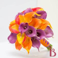 orange purple fall calla lily bouquet flame