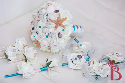 teal jade seashell bouquet with shells starfish artificial wedding bouquet