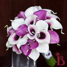 light purple white calla lilies with purple in the middle picasso style lavender or lilac wedding bouquet artificial silk flowers
