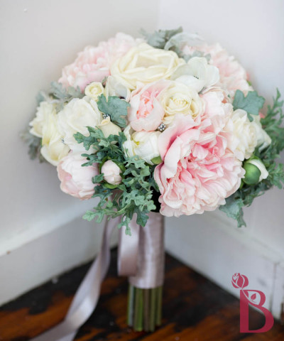 ivory pastel pink wedding bouquet peonies roses anemones calla lilies dusty miller artificial roses cabbage