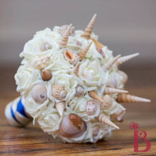 spiky seashell wedding bouquet with silk artificial flowers cream and royal blue