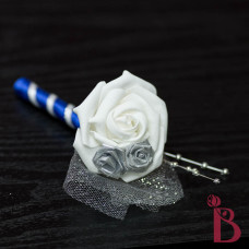white rose with silver and royal blue accent and silver pearls