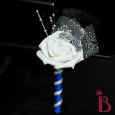 wedding prom boutonniere silver royal blue white rose