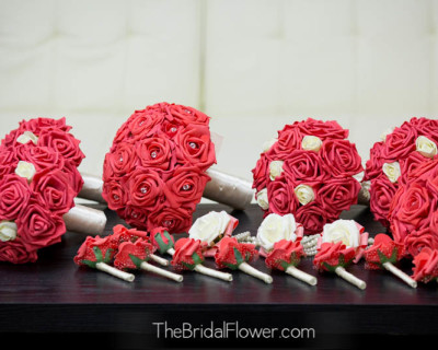 guava wedding bouquet set with roses and cream ivory roses boutonnieres corsages with silk flowers for weddings