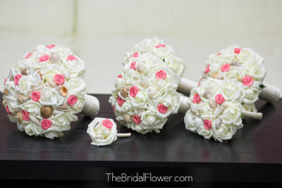 coral seashell wedding bouquet set with seashells and roses artificial silk flowers