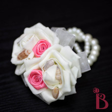 coral wrist corsage on a pearl bracelet for mom grandmother ivory ribbons