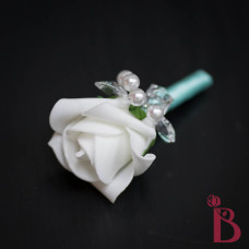 artificial flower wedding boutonniere crystals pearls