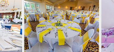 wedding centerpieces and tables set up in royal blue canary yellow and light purple