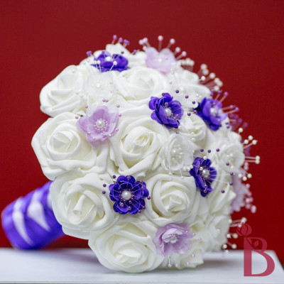 light purple lavender wedding bouquet with pearl flowers and white silk wedding flowers roses