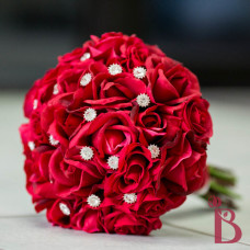 real touch wedding bouquet red roses diamond sparkles all red crimson apple dark shade weddings flowers