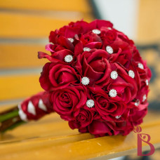 silk wedding bouquet red roses natural real touch feel diamonds sparkle romantic