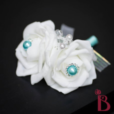 white rose corsage that looks real but with fake flowers aqua tiffany blue pearls for prom wedding quinceanera