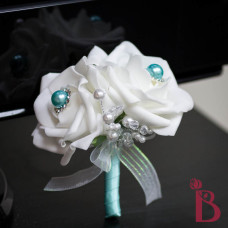 mother corsage grandmother women female roses pearls double rose pin corsage tiffany aqua pearls