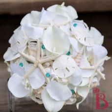 sand dollars starfish seashells beach wedding bouquet aqua tiffany blue silk flower bridal flowers