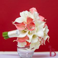 light coral and cream wedding bouquet destination fake artificial silk flowers well made real touch