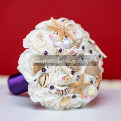 dark purple plum wedding seashell bouquet silk fake flowers starfish sea shells